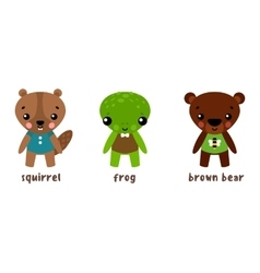 Cartoon animal character set frog and bear vector