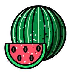 cartoon image of watermelon icon summer symbol vector image vector image