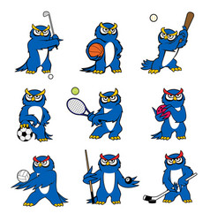 cartoon owl play sports mascot icons vector image vector image