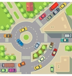 City map with top view cars and houses vector