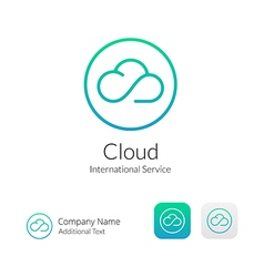 Cloud stylish logo icon and button concept set vector