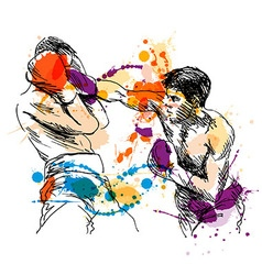 Colored hand sketch Boxers vector image