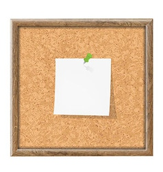 Cork board with blank note paper vector