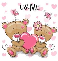 Cute teddy bears with heart vector