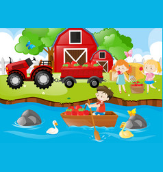 farm scene with kids and apples vector image vector image