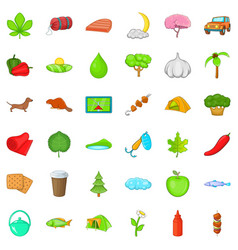 Fishing nature icons set cartoon style vector
