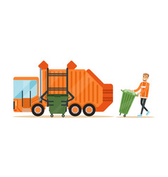 Garbage truck driver loading recycle bin into vector