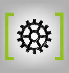 gear sign black scribble icon in citron vector image