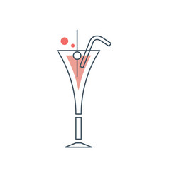 Glass of cosmopolitan cocktail with drinking straw vector