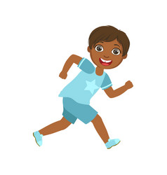 Happy little boy running and smiling a colorful vector
