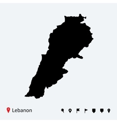 High detailed map of Lebanon with navigation pins vector image