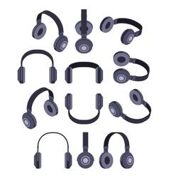 Isometric black headphones vector