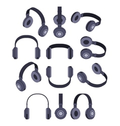 Isometric black headphones vector image vector image