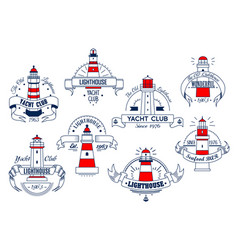 lighthouse icons for yacht club or bar vector image vector image