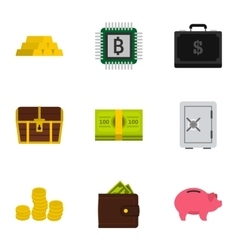 Money icons set flat style vector