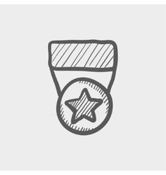 One star medal sketch icon vector