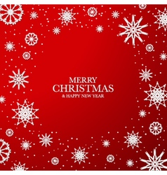 Red christmas background with white snowflakes vector
