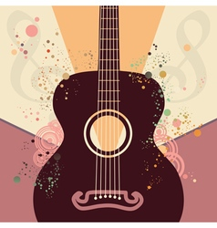 Retro guitar poster vector