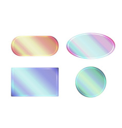 Set of pearlescent banners of different shapes vector