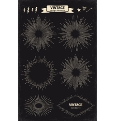 Set of vintage hand drawn sun sunburst starburst vector image