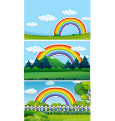 three park scenes with rainbow vector image vector image