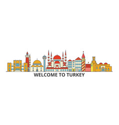 turkey outline skyline turkish flat thin line vector image