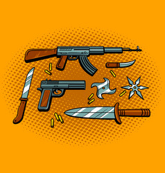 Weapon pop art style vector
