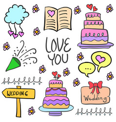 Wedding party style doodles vector