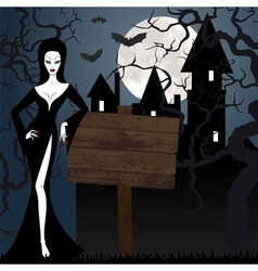 Witch castle and tree at night vector image vector image
