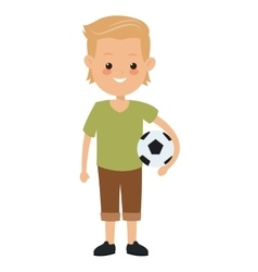 Boy holding soccer ball icon vector