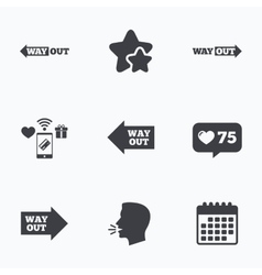 Way out icons left and right arrows symbols vector