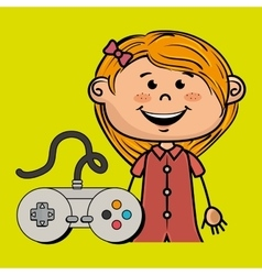 Girl game control icon vector