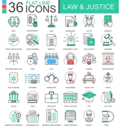 Law and justice color flat line outline vector