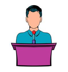 orator speaking from tribune icon cartoon vector image