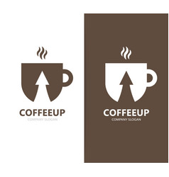 Coffee and arrow up logo combination vector