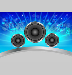 Abstract musical with speakers on blue background vector