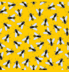 bees on a yellow background seamless pattern vector image