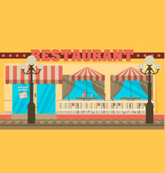 The facade of the cafe with umbrellas chairs vector