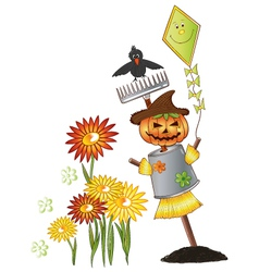 Halloween scarecrow autumn vector