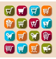 Shopping basket long shadows icons vector