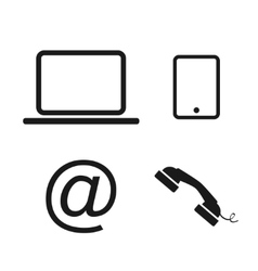Laptop phone and email icons vector