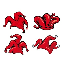 Colorful red jester hats vector