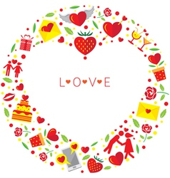Heart shape love icons wreath vector