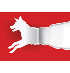 Dog silhouette ripping paper vector