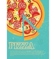 Pizza menu template in vintage retro grunge style vector