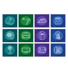 Home appliances iconsflat vector
