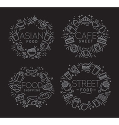 Food monograms black vector