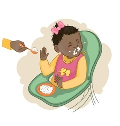 African american baby girl refuses to eat pap vector