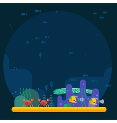 Underwater background coral garden with glossy vector