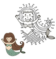 Connect the dots to draw the cute mermaid vector image